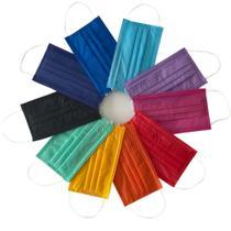 Máscara Tripla Descartável - Colorida - Sortida Lisa - 100un - Nc Produtos