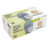 Máscara Tripla Descartável Descarpack Com Elástico C/50 Unidades -
