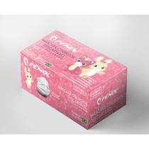 Máscaras Cirúrgicas Infantil Descartáveis Tripla Camada Caixa com 100 Unidades ANVISA - Filtro 95% - Cor Rosa - Fenix