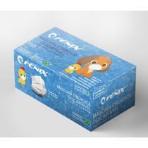 Máscaras Cirúrgicas Infantil Descartáveis Tripla Camada Caixa com 50 Unidades ANVISA - Filtro 95% - Branca - Fenix