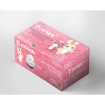 Máscaras Cirúrgicas Infantil Descartáveis Tripla Camada Caixa com 50 Unidades ANVISA - Filtro 95% - Cor Rosa - Fenix