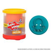 Massa de Modelar - Super Massa - Pote Unitário Duas Cores com Molde - Polvo - Estrela -
