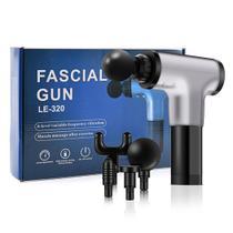 Massageador Elétrico Relaxamento Muscular Facial Físico Fitness 6 Níveis - Fascial Gun LE-320 Prata - Smart Bracelet
