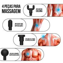 Massageador Pistol Elétrico Fisioterapia Alívio Muscular 6 Níveis - Fascial Gun LE-320 Prata - Smart Bracelet