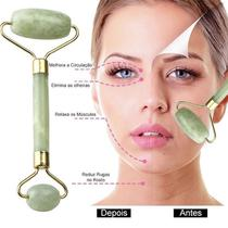 Massageador Rolo Massoterapia Facial Pedra Jade Anti Estresse e Anti Rugas - Ideal