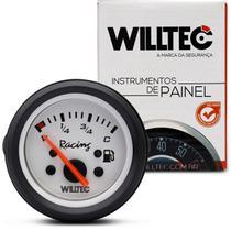 Medidor Analógico Indicador De Combustível 52Mm Branco Universal 4 Níveis 12V C40 V280 Willtec -