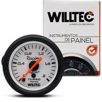 Medidor Analógico Pressão Do Turbo 0 A 2KGF/Cm 52Mm Branco Universal Willtec -