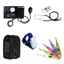 Medidor de Pressão Arterial + Oxímetro + Esteto + Garrote + Termômetro - Premium