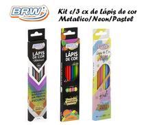 Mega Kit Lapis de cor Cx/18 BRW - Metalizado + Pastel + Neon -