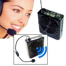 Megafone Amplificador Voz Microfone Professor Radio FM USB MP3 Fone Ouvido k150 Aula Palestra - SumeXR