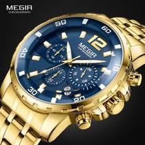 Megir Relógio Quartzo De Aço Inoxidável Dourado Masculino -