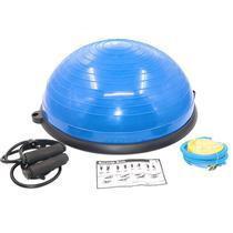 Meia Bola Bosu Suiça Ball Com Alças Extensores E Bomba De Encher Pilates Yoga - Azul - Fox fit