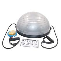 Meia Bola de Equilibrio Suiça Ball Com Alças Extensores E Bomba De Encher Pilates Yoga - Cinza - Fox fit