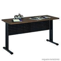 Mesa 1.80x60 Para Escritório Escrivaninha Compactta 30 - KASMOBILE - NOG. TERRA/PRETO -