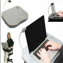 Mesa Almofada Para Notebook Suporte Led Apoio De Colo Multiuso Base Com Luminaria E Porta Copo - Makeda