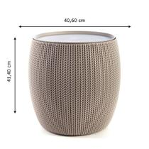 Mesa baú redonda bege linha knit Keter -