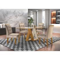 Mesa Belle 1,20x0,90,Tampo Slim,cor Ypê/Off, Vidro Off com 4 cadeiras Dakota, Tecido 84-Cel Móveis -