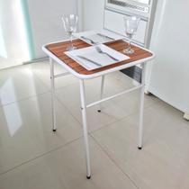 Mesa Branca Pequena P/ Cozinha De Apartamento Tampo Madeira - MetalCromo