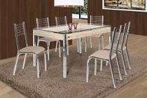 Mesa Camila 1,40 com 6 Cadeiras Cromado Linho Bege - Ciplafe