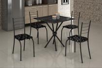 Mesa com 4 Cadeiras Para Cozinha Ipanema Teixeira Preta - Teixeira Móveis
