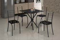 Mesa com 4 Cadeiras para Cozinha Ipanema Teixeira Preta -