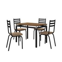 Mesa com 4 cadeiras Para sala de jantar malva preto com tampo amadeirado - Artefamol