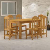 Mesa Com 6 Cadeiras de Madeira Maciça 160x88 Safira Cerejeira - Nemargi