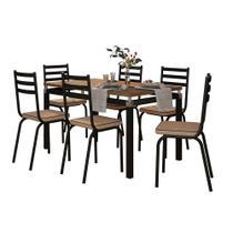 Mesa com 6 cadeiras Para sala de jantar malva preto com tampo amadeirado - Artefamol