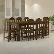 Mesa Com 8 Cadeiras de Madeira Maciça 220x88 Safira Imbuia - Nemargi