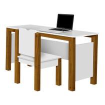 Mesa com Cadeira Escrivaninha com Pés em Madeira Branco/Amêndoa - Divaloto