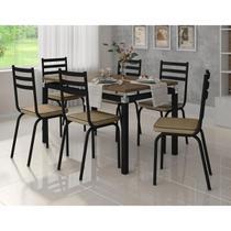 Mesa Com Cadeiras 6 Lugares Para Cozinha De Ferro M118 P Rat - Artefamol