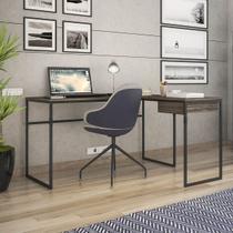 Mesa Computador Escrivaninha Industrial Em L Erica Novabras 1 Gaveta -