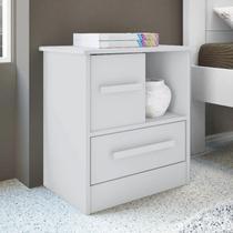 Mesa de Cabeceira 1 Gaveta 1 Porta de Correr Stilo Albatroz Móveis Branco -