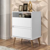 Mesa de Cabeceira 2 Gavetas Lotus J&A Móveis Branco -