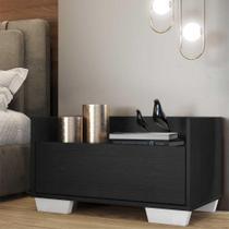 Mesa de Cabeceira 60 cm c/ Pés Quadrados Multimóveis Preta/Branca -