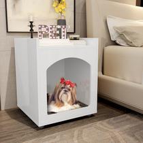 Mesa de Cabeceira com Casinha para Cachorro Gato Pet - Branco - Ofertamo