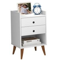 mesa de cabeceira Retrô Bento 2 Gavetas - Branco - RPM Móveis -
