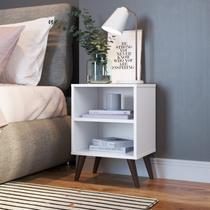 Mesa de Cabeceira Retrô com Prateleira Completa Móveis Branco -