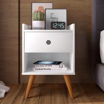 Mesa de cabeceira Retrô Decore 1 Gaveta - Branco - RPM Móveis -