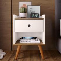 Mesa de cabeceira Retrô Decore 1 Gaveta - Off White / Freijo - RPM Móveis -