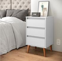 Mesa de Cabeceira Retro Wood EJ Móveis -  Branco - E J Móveis