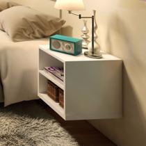 Mesa de Cabeceira Suspensa MDF branco TX 15mm 50 x 40 x 30 cm - Móveis Alice