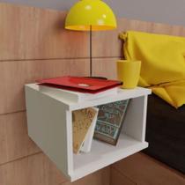 Mesa de Cabeceira Suspensa MDF branco TX 15mm - Móveis Alice