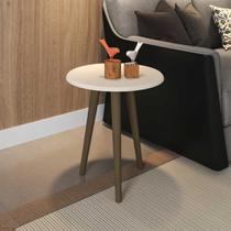 Mesa de canto redonda brilhante 2075261 off white - bechara móveis - Móveis bechara