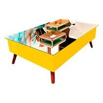 Mesa de Centro com Tampo Espelhado Amarelo Pinoquio -