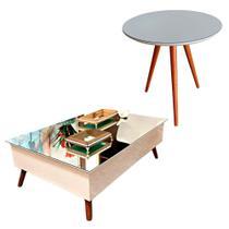 Mesa de Centro com Tampo Espelhado Combo 50x50 Off White Pinoquio - Pinoquio Decor