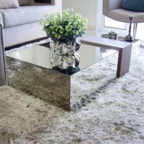 Mesa de centro espelhada baixa, lapidada 70x50x20 Sala Moderna - Dom Móveis -