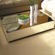 Mesa De Centro Espelhada Lapidada 100x60x30 Mesinha de Espelho - Amplo Espaço