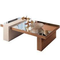 Mesa de Centro Espelhada Sala de Estar Lord Nature Off White - Lyam Decor