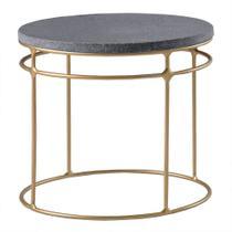 Mesa de Centro Five 50cm Aço Bronze/Granito Preto Escovado - Gran Belo -